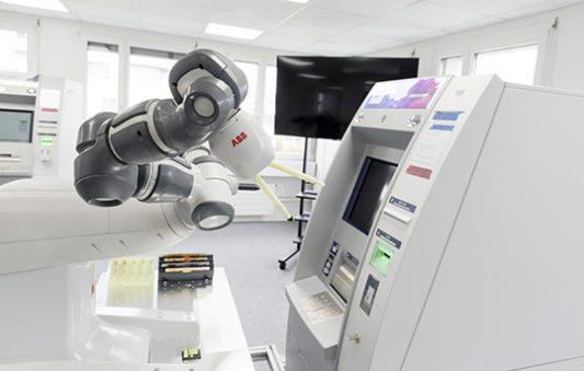 robot YuMi ABB testing ATM Abrantix